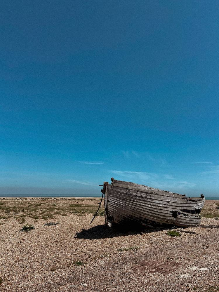 Abandoned boat on the shore of Dungeness