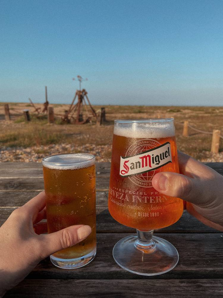 Beers at The Pilot Inn on Dungeness beach