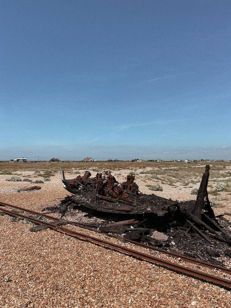 Burnt down boat on the shore of Dungeness