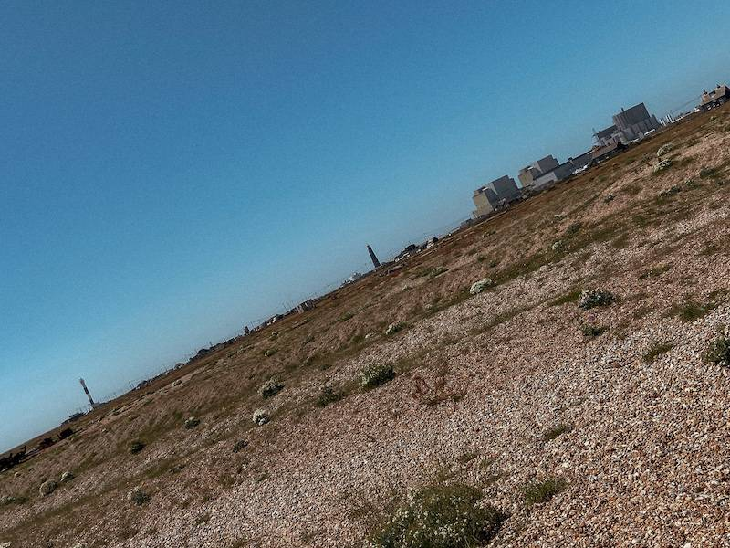 Dungeness vast landscape with two lighthouses and nuclear power stations