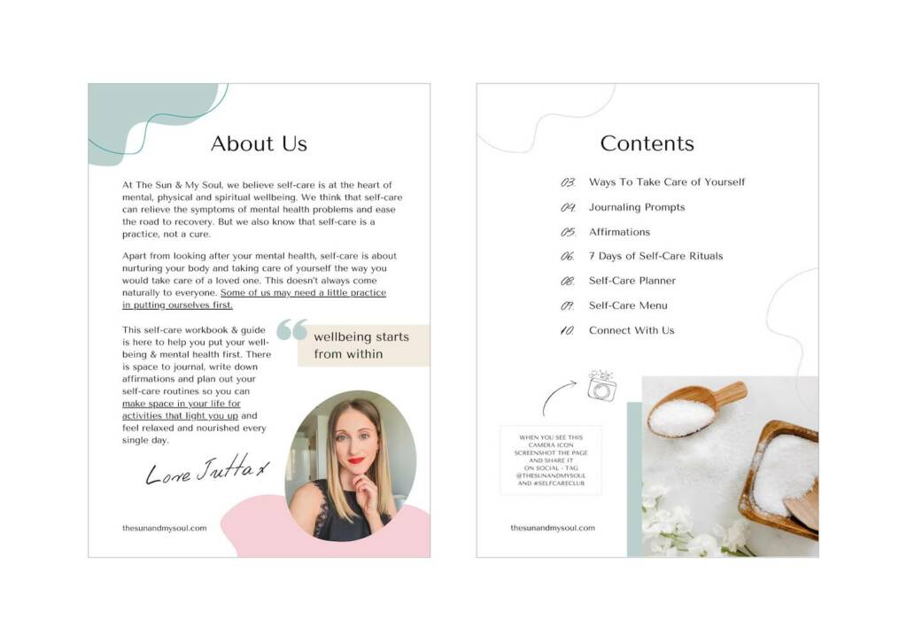 Lead magnet design - about me and contents page