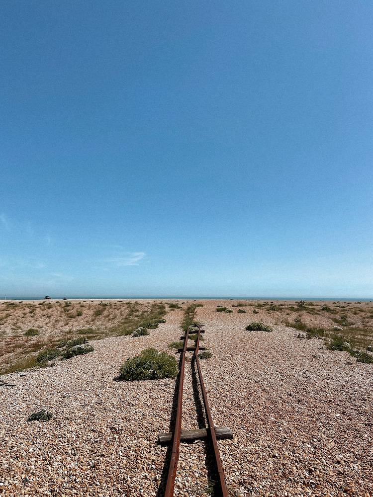 Old railway line from the sea to the beach of Dungeness