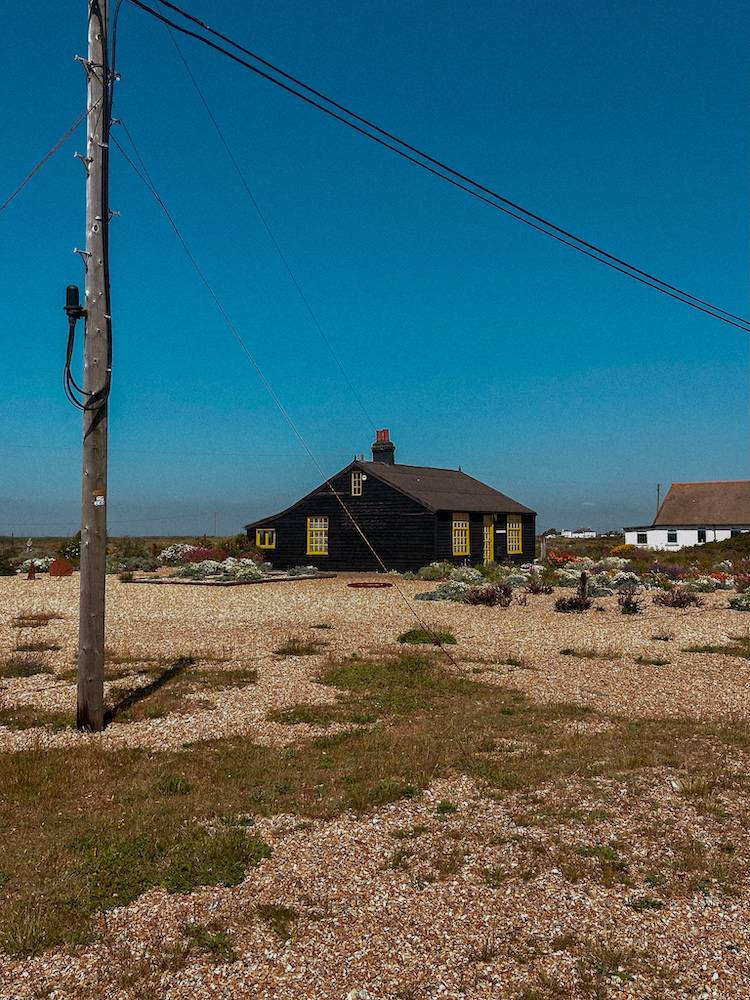 Prospect cottage from far away in Dungeness