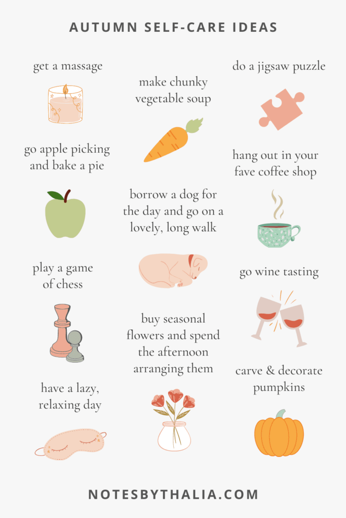 Seasonal self-care ideas for autumn apple picking, wine tasting, carve a pumpkin, have a lazy day