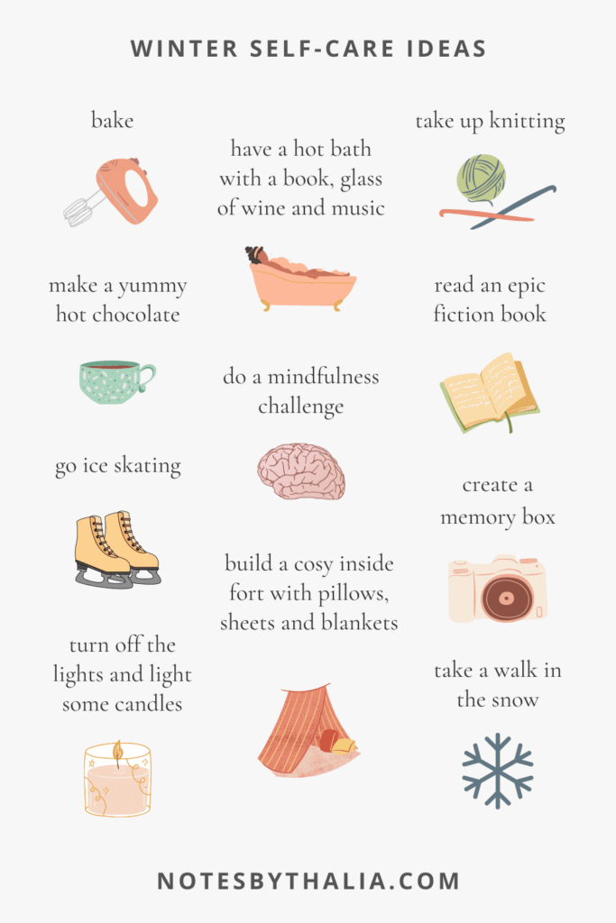 Seasonal self-care ideas for winter bake, ice skating, walk in the snow, light a candle