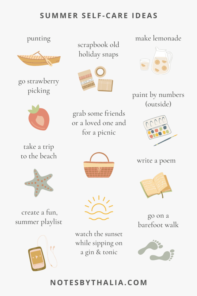 Seasonal self-care ideas for summer strawberry picking, paint by numbers, make lemonade, create a summer playlist