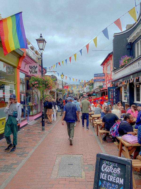 Walking through the busy Laines In Brighton on our uk summer staycation tour