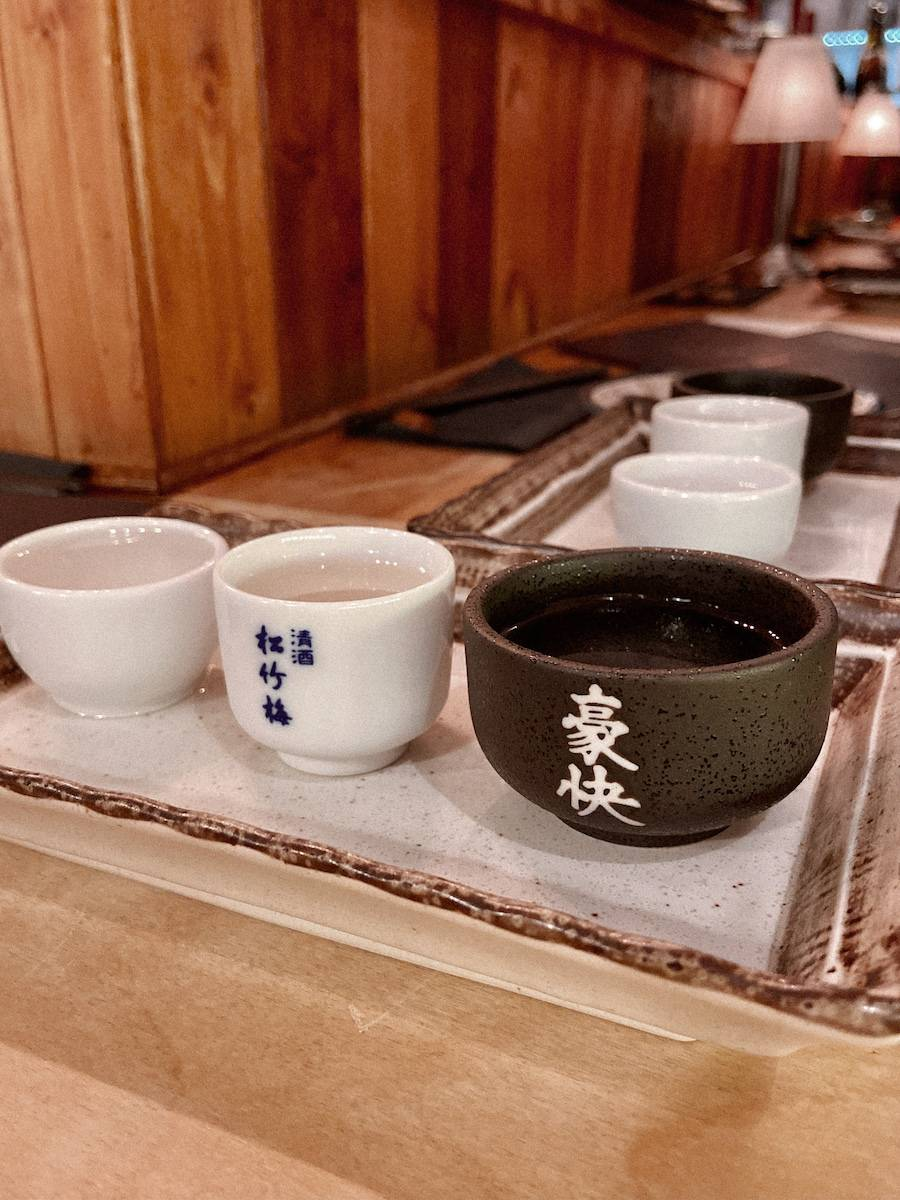 Sake tasting at Aji Sushi in Hove - stop 1 on our uk summer staycation tour