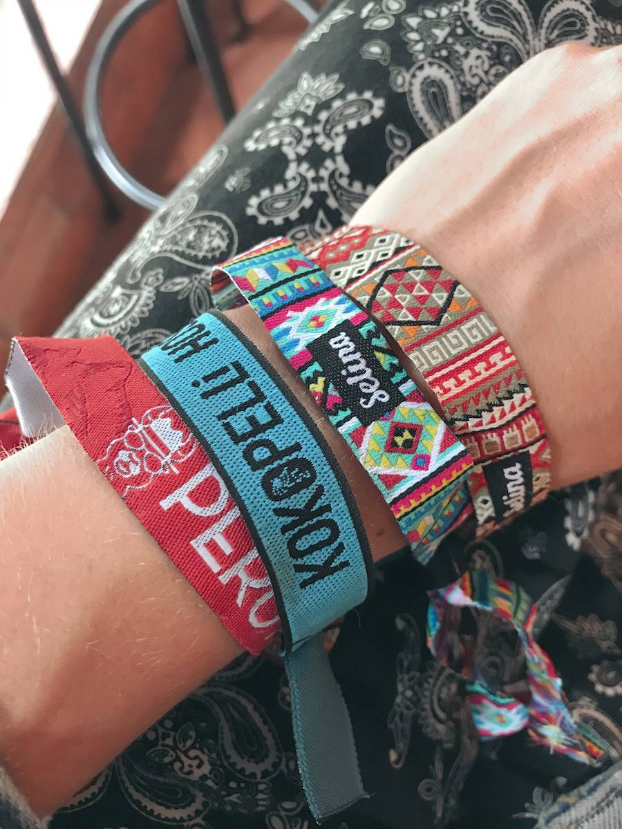 My material wristbands from Selina Hostels in South America