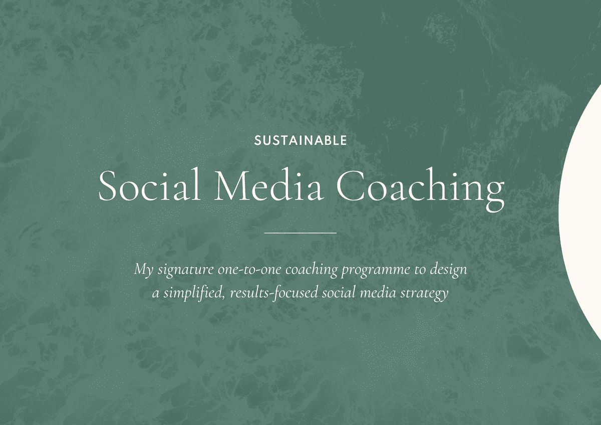Sustainable social media coaching proposal template front cover design.