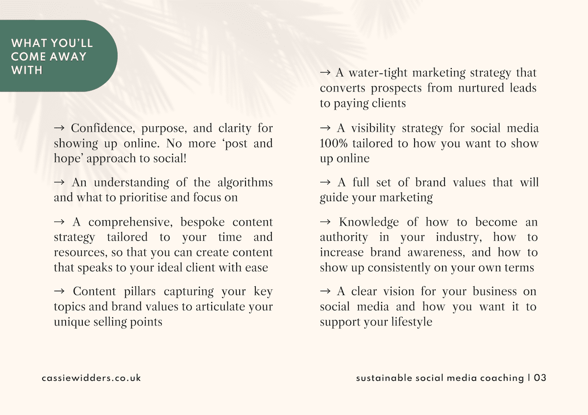 Sustainable social media coaching proposal template design