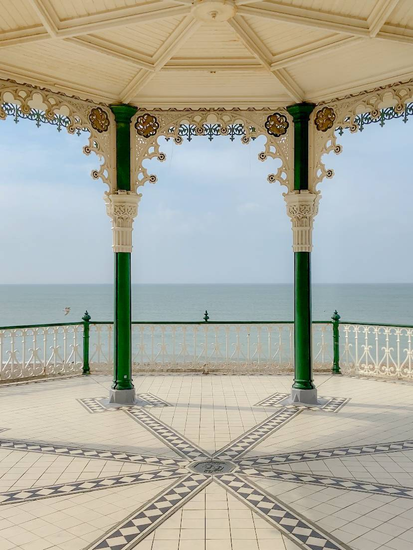 Overlooking the see on the bandstand in Brighton, stop 1 on our uk summer staycation tour