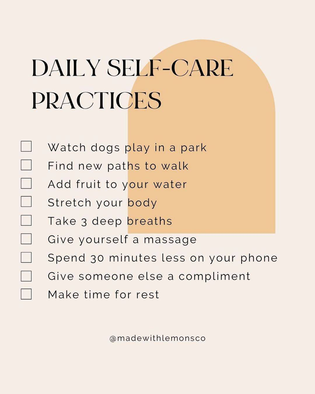 Daily self-care practices from Livia at Made With lemons