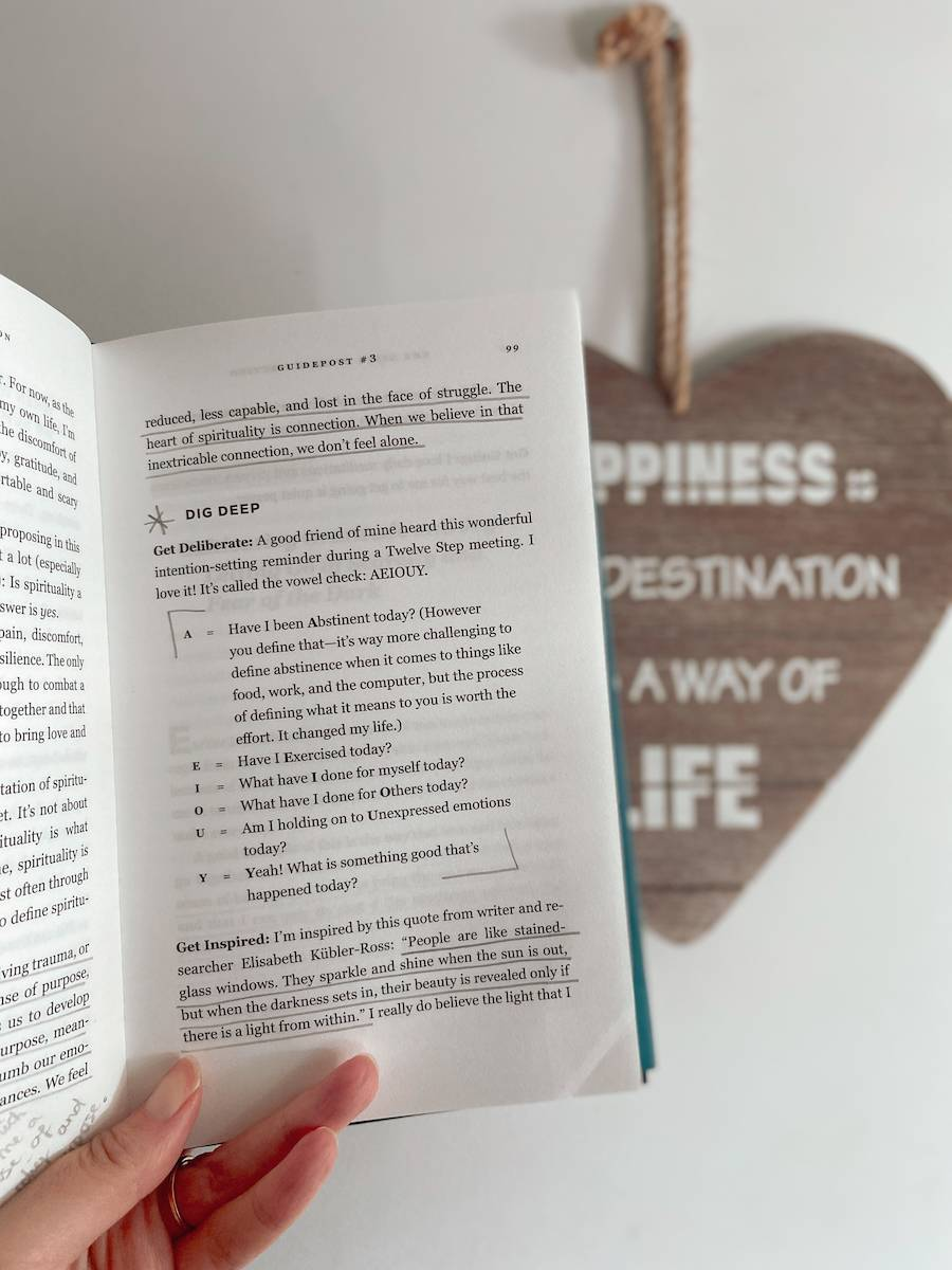 Page 99 from The Gifts of Imperfection telling us to dig deep and set intentions.